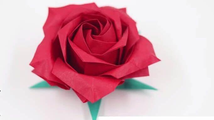 Hướng dẫn gấp hoa hồng giấy origami của Nhật