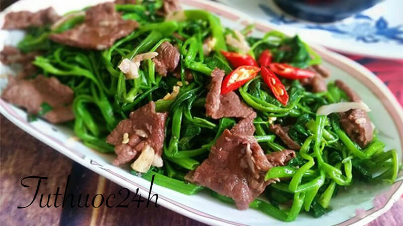 Hướng dẫn cách nấu món rau muống xào thịt bò thơm ngon tuyệt hảo